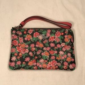 Coach Floral Coated Leather Wristlet